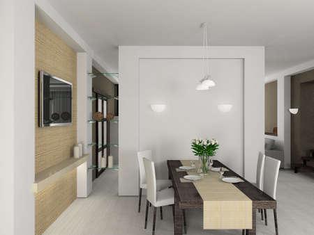 Modern design interior of dining-room. 3D render