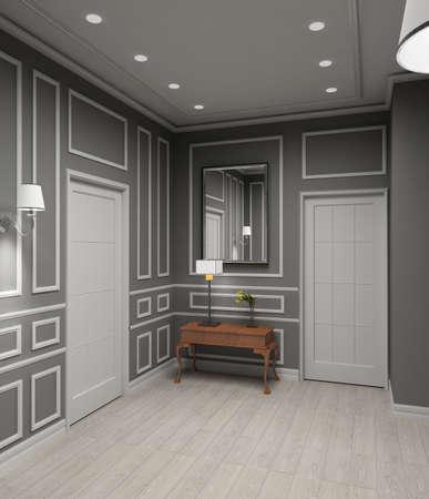 Modern design iinterior of vestibule. 3D render photo