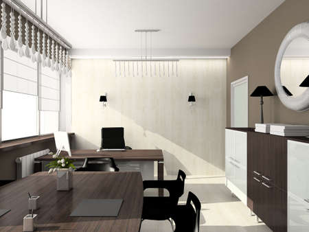 Modern design interior of office. 3D render photo