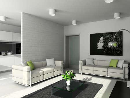 plant design: Modern design interior of living-room. 3D render