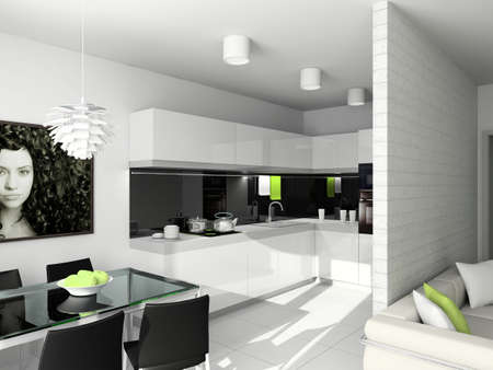 expensive granite: Modern design interior of kitchen. 3D render