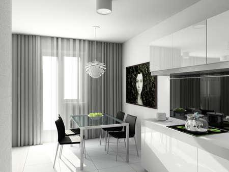 Modern design interior of kitchen. 3D render photo