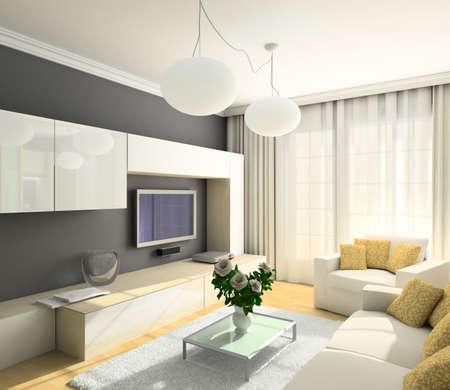 깔개: 거실의 현대적인 디자인 인테리어입니다. 3D 렌더링