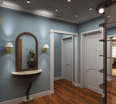 vestibule: Classic design interior of vestibule. 3D render