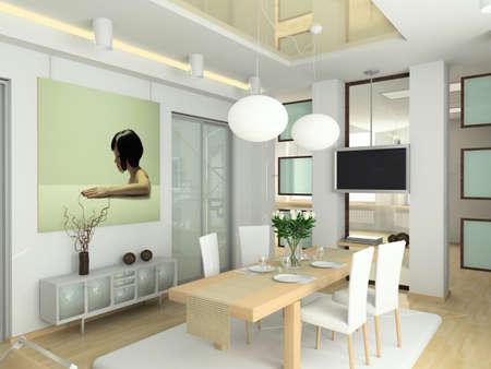 modern interior in big house. Design of living-room. 3D render.