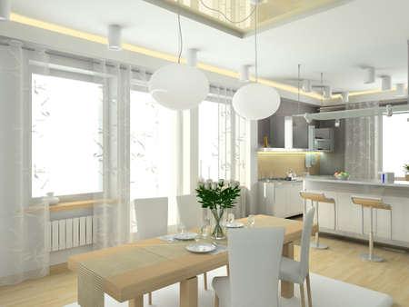 modern interior in big house. Design of kitchen. 3D render.