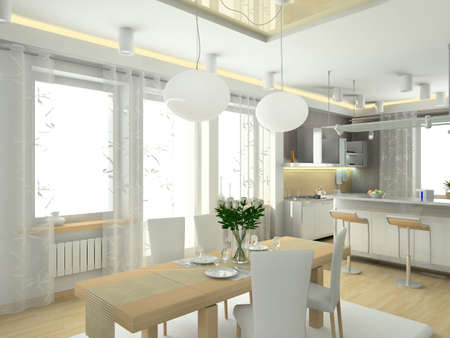 decorating: modern interior in big house. Design of kitchen. 3D render.