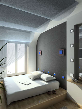 Modern design interior of bedroom. 3D render Stock Photo - 4368078