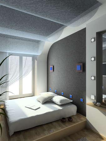 bed frame: Modern design interior of bedroom. 3D render Stock Photo