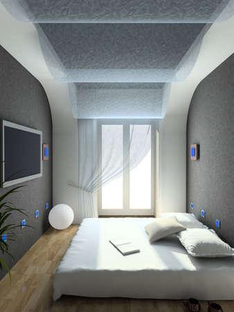 Modern design interior of bedroom. 3D render Stock Photo - 4368146