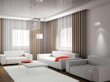 Modern design interior of living-room. 3D render photo