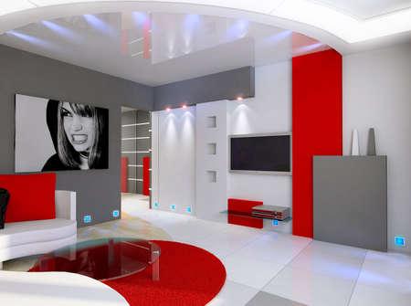 haus beleuchtung: Modernes Design Interieur Wohnzimmer. 3D render