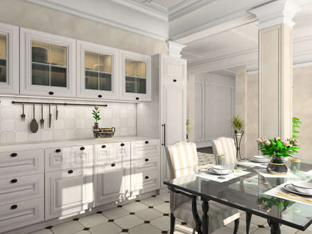 expensive granite: Kitchen with the classic furniture. 3D render.