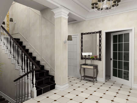 Big hall with the classic stair. 3D render.  photo