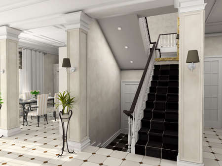 vestibule: Big hall with the classic stair. 3D render. Hall