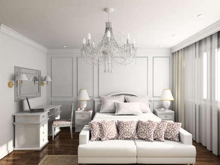 Modern design inter of bedroom. 3D render Stock Photo - 4370421