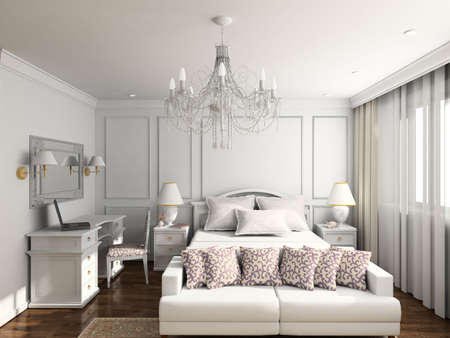 Modern design interior of bedroom. 3D render Stock Photo - 4370421