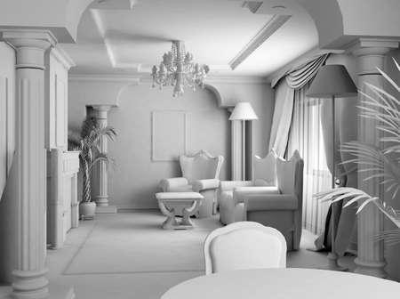 3D render. White room.