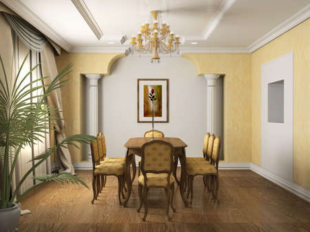 Classical design interior of dining-room. 3D render