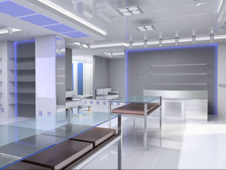 fashion boutique: Modern design interior of shop. 3D render