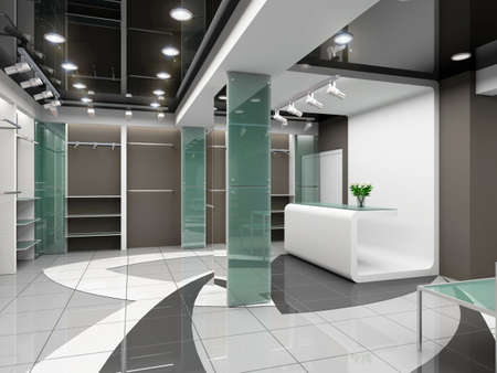 store interior: Modern design interior of shop. 3D render