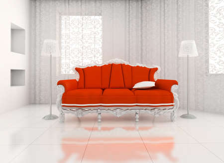 3D render. classic chair room in the big house. photo