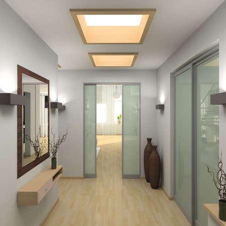 pansement: Iinterior de vestibule moderne. 3D render