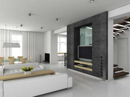 Modern interior. 3D render. Living-room. Stock Photo - 4370949