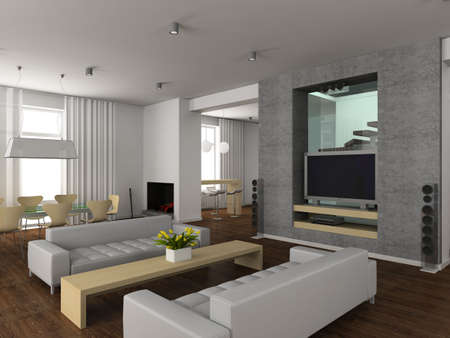 Modern interior. 3D render. Living-room.