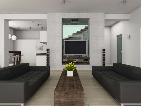 Modern interior. 3D render. Living-room. Stock Photo - 4370951