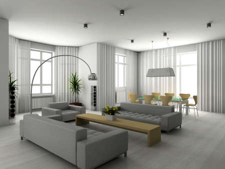 traditional living room: Modern interior. 3D render. Living-room.