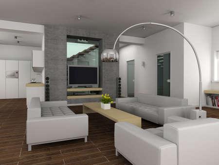 Modern interior. 3D render. Living-room. Stock Photo - 4370947