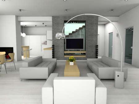 Modern interior. 3D render. Living-room.  Stock Photo - 4370948