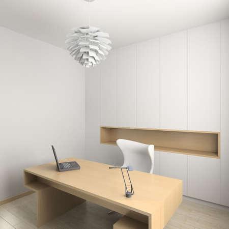 respectable: Modern design interior of cabinet. 3D render Stock Photo