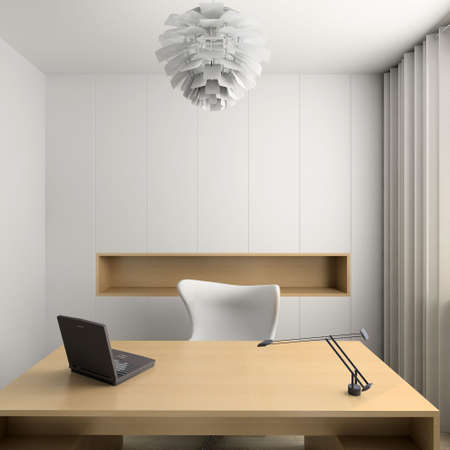 light room: Modern design interior of cabinet. 3D render Stock Photo
