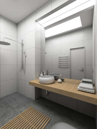 Modern design interior of toilet. 3D render Stock Photo
