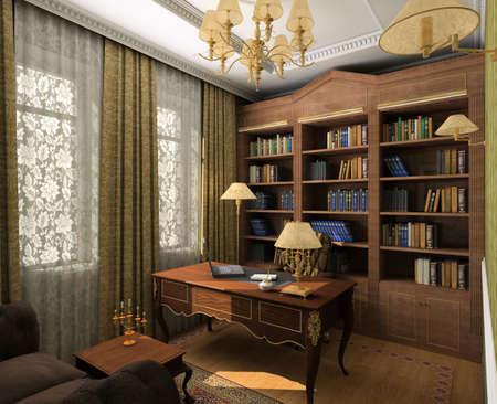 respectable: Classical design interior of cabinet. 3D render