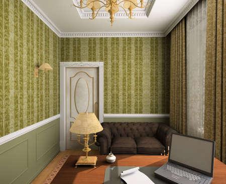 Classical design interior of cabinet. 3D render photo