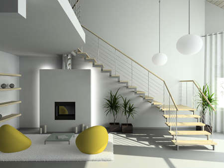 luxury house: Modern design interior of living-room. 3D render