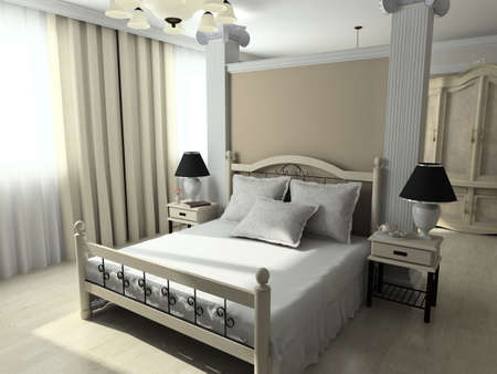Modern design interior of bedroom. 3D render Stock Photo - 4381690