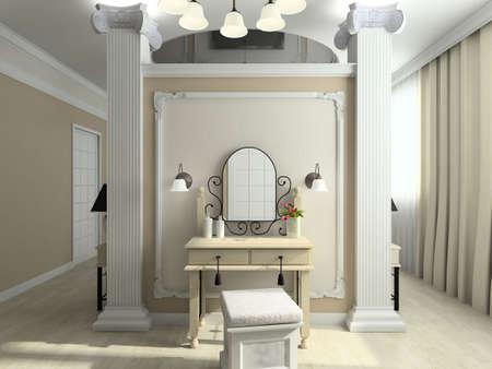 Modern design interior of bedroom. 3D render Stock Photo - 4381696
