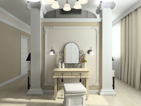 boudoir: Modern design interior of bedroom. 3D render Stock Photo