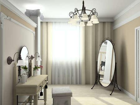 Modern design interior of bedroom. 3D render photo