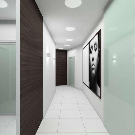 vestibule: Iinterior of modern vestibule. 3D render Stock Photo