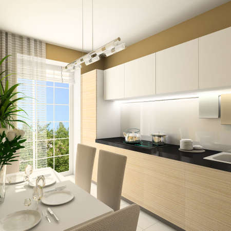 stainless steel kitchen: Modern design interior of kitchen. 3D render