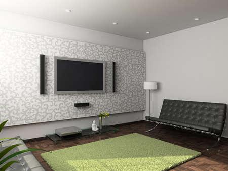 Modern design interior of living-room. 3D render Stock Photo - 4381774