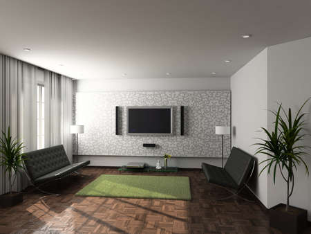 Modern design interior of living-room. 3D render Stock Photo - 4381767