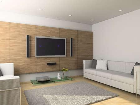 Modern design interior of living-room. 3D render Stock Photo - 4381792
