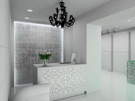 retail place: Modern design interior of shop. 3D render