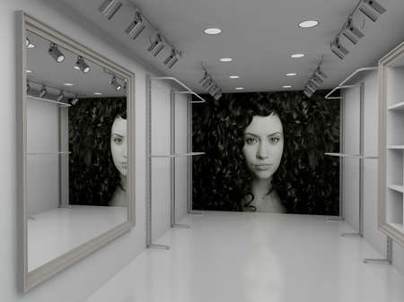 Modern design interior of shop. 3D render photo